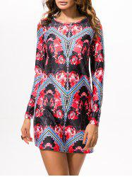 Printed Vintage Stretchy Mini Dress - RED