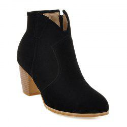 Zipper Suede Stitching Ankle Boots - BLACK 39