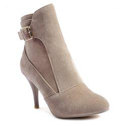 Buckle Strap Pointed Toe Ankle Boots - APRICOT