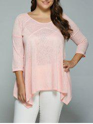 Plus Size Heather Side Slit Asymmetrical Blouse - SHALLOW PINK