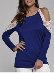 Cold Shoulder Lace Insert Blouse -