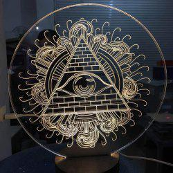 Circulaire Triangle Eye 3D LED Bois Dormant Night Light - Blanc