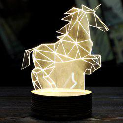 Pegasus 3D LED Wooden Base Sleeping Atmosphere Visual Night Light