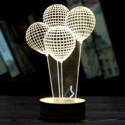 Balloons 3D LED Wooden Base Sleeping Atmosphere Visual Night Light