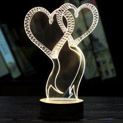 Double Love 3D LED Wooden Base Sleeping Atmosphere Visual Night Light - WHITE