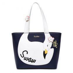 Color Spliced Flowers Swan Pattern Shoulder Bag