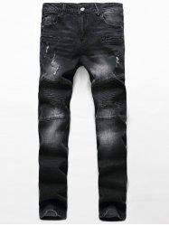 Ribbed Zippered Scratched Ripped Biker Jeans -