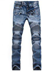 Zippered Scratched Biker Denim Jeans - LIGHT BLUE