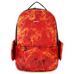 Wing Flame Print Zipper Backpack -