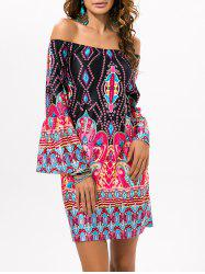 Casual Off The Shoulder Ethnic Style Dress - BLACK