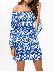 Casual Off The Shoulder Geometric Print Dress