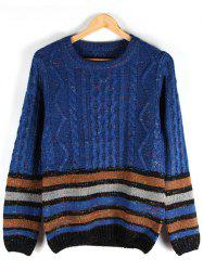 Striped Crew Neck Cable-Knit Sweater - BLUE XL