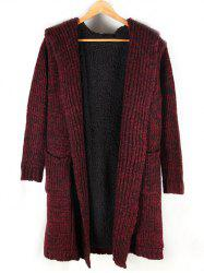 Heathered Pocket Front Fleece Lined Hooded Cardigan -