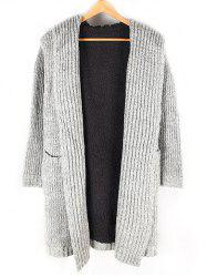 Heathered Pocket Front Fleece Lined Hooded Cardigan