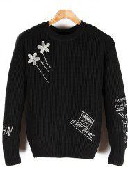 Embroidered Crew Neck Pullover Sweater -