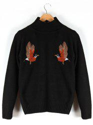 Stand Collar Embroidered Ribbed Sweater -