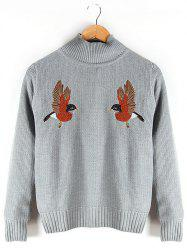 Stand Collar Embroidered Ribbed Sweater - GRAY XL