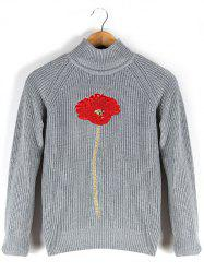 Stand Collar Floral Embroidered Raglan Sleeve Sweater - GRAY XL