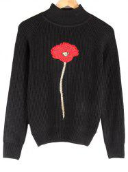 Stand Collar Floral Embroidered Raglan Sleeve Sweater