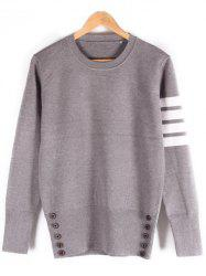 Button Embellished Ribbed Crew Neck Sweater -