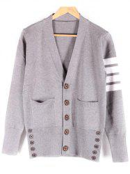 Pocket Front V-Neck Button Up Striped Cardigan