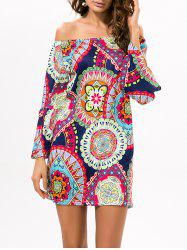 Printed Off The Shoulder Mini Casual Dress