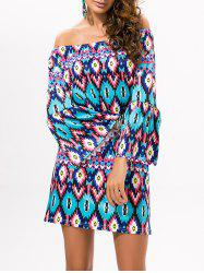 Flare Sleeve Off The Shoulder Printed Dress