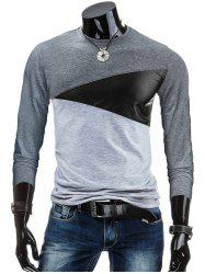 Crew Neck PU-Leather Spliced Color Block T-Shirt - DEEP GRAY