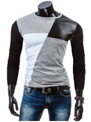 Crew Neck Color Block PU-Leather Spliced T-Shirt -