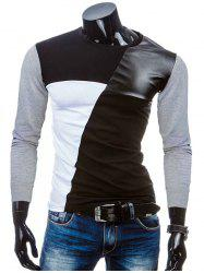 Crew Neck Color Block PU-Leather Spliced T-Shirt