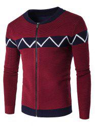 Crew Neck Waviness Knitting Splicing Zip-Up Cardigan - WINE RED