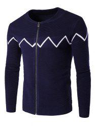 Ras du cou Ondulation Knitting Splicing Zip-Up Cardigan - Bleu Cadette