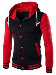 Hooded Stripe Rib Splicing Single-Breasted Drawstring Hoodie - RED