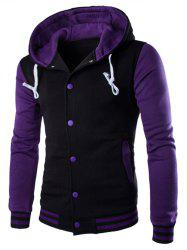 Hooded Stripe Rib Splicing Single-Breasted Drawstring Purple Hoodie - PURPLE