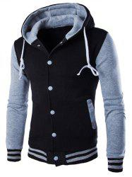 Hooded Stripe Rib Splicing Single-Breasted Drawstring Hoodie - GRAY