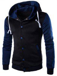 Hooded Stripe Rib Splicing Single-Breasted Drawstring Hoodie