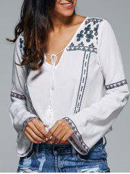 Ethnic Embroidered Tassel Blouse -