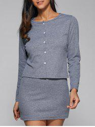 Sleeveless Skinny Dress + Buttoned Outerwear Twinset -