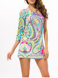 One Shoulder Printed Mini Dress