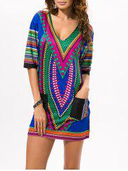 V Neck Ethnic Printed Mini Dress