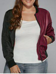 Plus Size Color Block Bomber Jacket - WINE RED