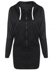 Zippered Hooded Long Sleeve Dress with Pocket - BLACK ONE SIZE