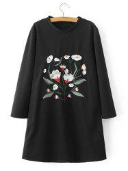 Flower Embroidered Loose T-Shirt Dress -