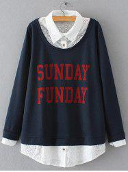 Plus Size Embroidered Fleece Spliced Sunday Sweatshirt -