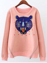Plus Size Cartoon Tiger Heart Fleece Sweatshirt -