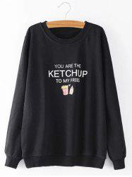 Plus Size  Ketchup Letter Sweatshirt - BLACK 3XL