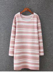 Plus Size Stripe Knitted Dress - PINK 4XL
