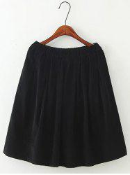 Plus Size Corduroy Flare Skirt