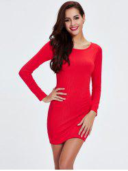 Ribbed Long Sleeve Tight Dress - RED 2XL