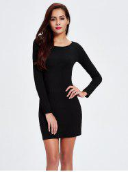 Ribbed Long Sleeve Tight Dress